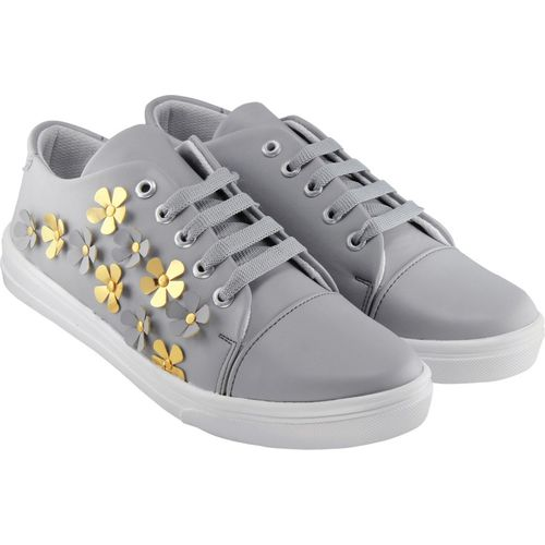 Zapatoz Perfect Stylish Grey Sneakers Shoes For Women Sneakers For Women(Grey)