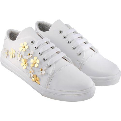 Zapatoz Perfect Stylish White Sneakers Shoes For Women Sneakers For Women(White)