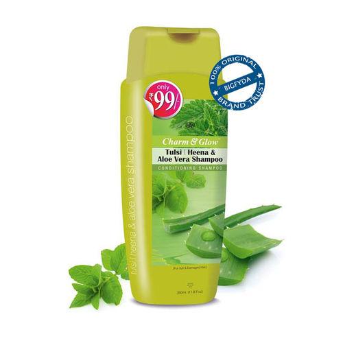Charm and Glow Charm Glow Tulsi Heena Aloe Vera Conditioning Shampoo for Damaged Hair 350 ML