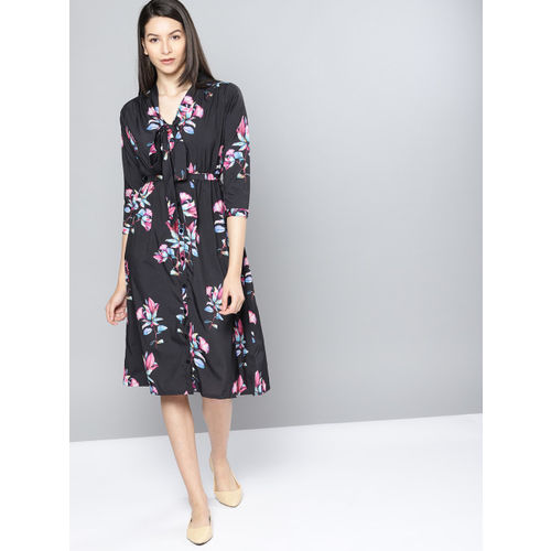 NUSH Women Black Printed Fit and Flare Dress