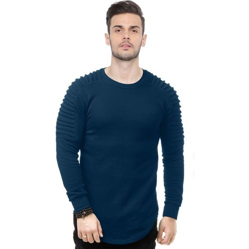 JUST DRESS BETTER Solid Men Round Neck Blue T-Shirt