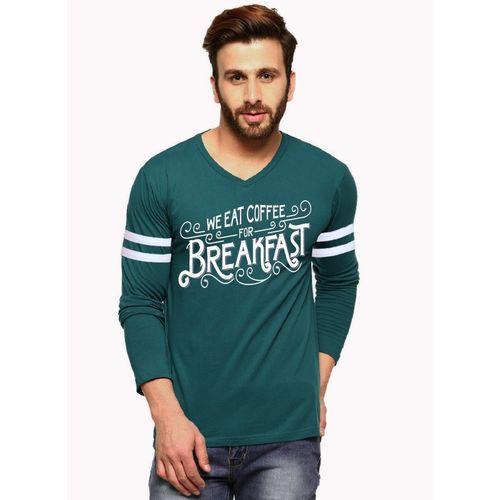 Tripr Printed Men V-neck Green T-Shirt