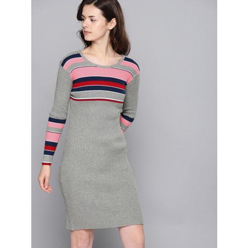 NUSH Women Grey Striped Sweater Dress
