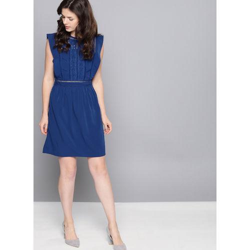 NUSH Blue Solid A-Line Dress