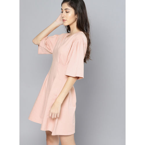 NUSH Pink Solid Fit and Flare Dress
