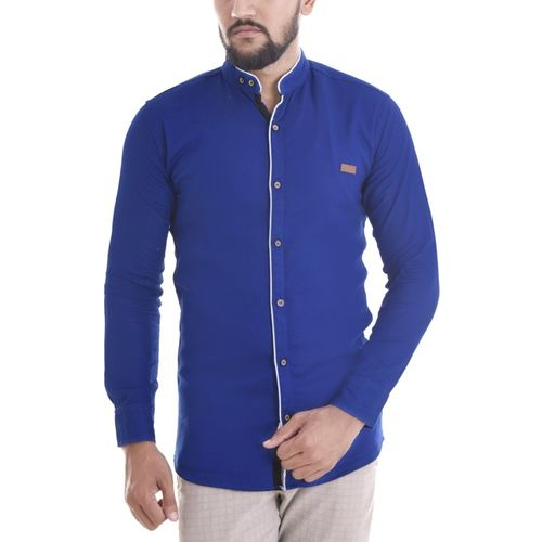 Duenite Men's Solid Casual Blue Shirt