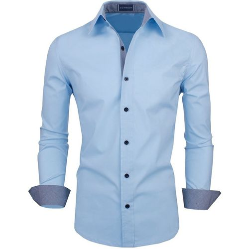 Zombom Men's Solid Casual Light Blue Shirt