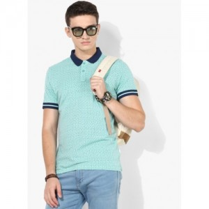 Lee See Green Printed Regular Fit Polo T-Shirt