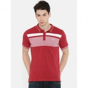 Lee Men Red & White Striped Round Neck T-shirt