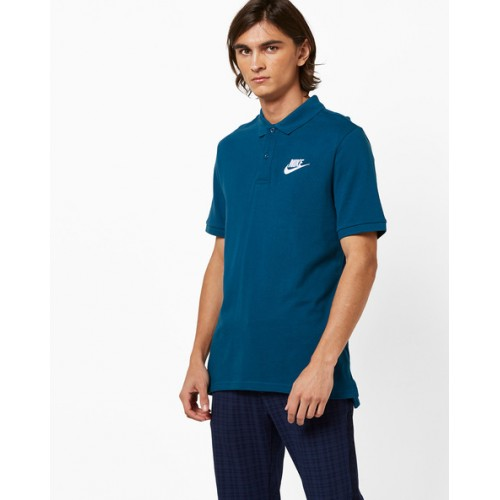 NIKE Blue Polo T-shirt with Ribbed Hems