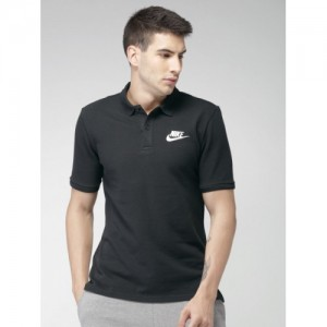 Nike Men Black Solid Polo Collar T-shirt