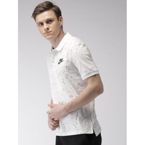 10234b9d9709 Buy Nike Men White   Black Printed AS M NSW JSY AOP Polo T-shirt ...