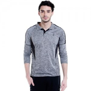 Campus Sutra Solid Men Polo Neck Grey T-Shirt