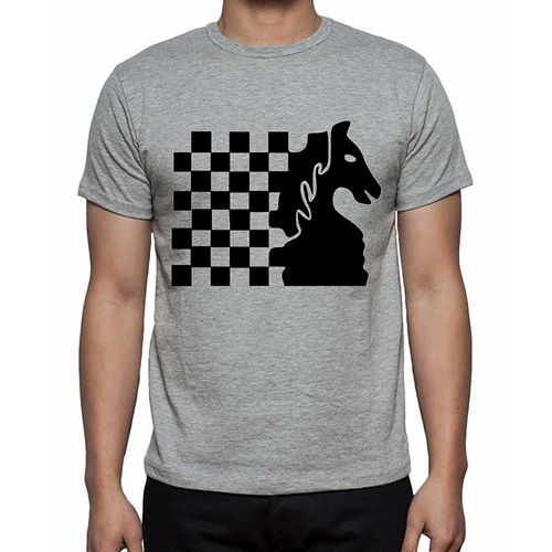 Double F DOUBLE F ROUND NECK HALF SLEEVE LIGHT GREY COLOR CHESS PRINTED T-SHIRTS