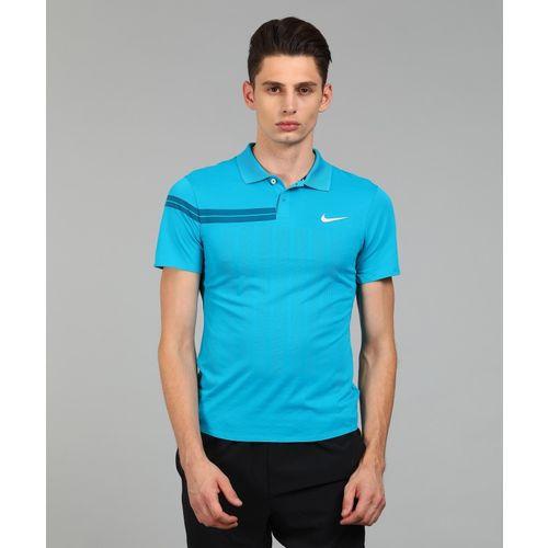 Nike Self Design Polyester Half Sleeve Polo Neck Blue T-Shirt