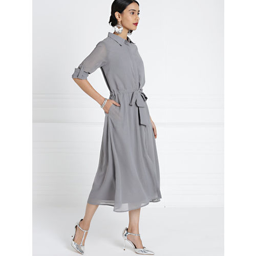 all about you Women Grey Solid Shirt Style Dress