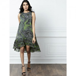 all about you Grey Printed A-Line Dress