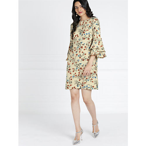 all about you Women Beige Printed A-Line Dress