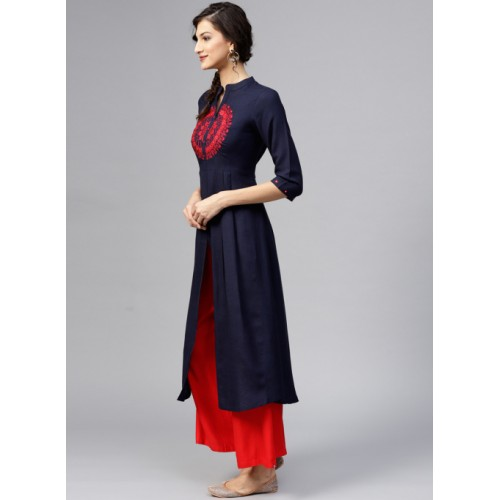 Libas Navy Blue Embroidered A-Line Kurta With Mirror-Work