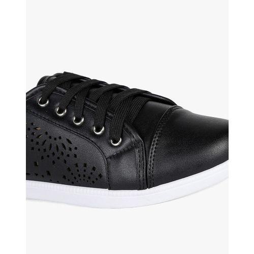 Flat n Heels Laser-Cut Low-Top Lace-Up Shoes