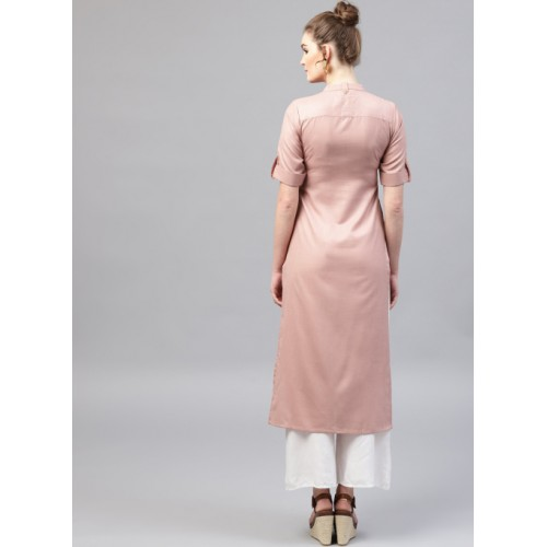 GERUA Dusty Pink Solid Straight Kurta