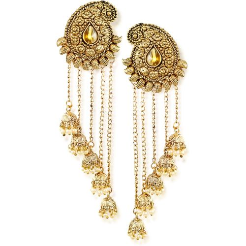 Zaveri Pearls Tassels With Dome-Shaped Jhumki Drops Earring Dangle Earring