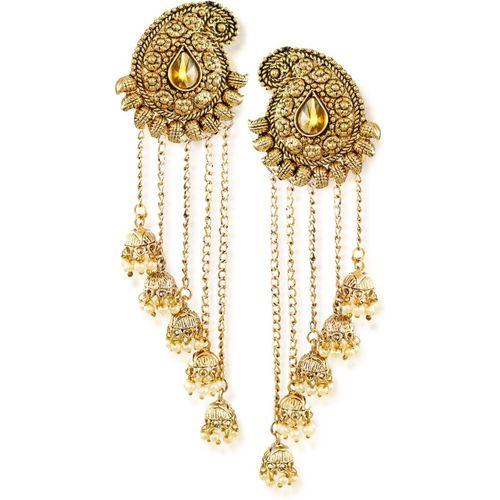 Zaveri Pearls Tassels With Dome-Shaped Jhumki Drops Earring Dangle Earring