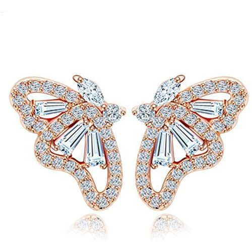 Yellow Chimes Classic Butterfly Metal Stud Earring