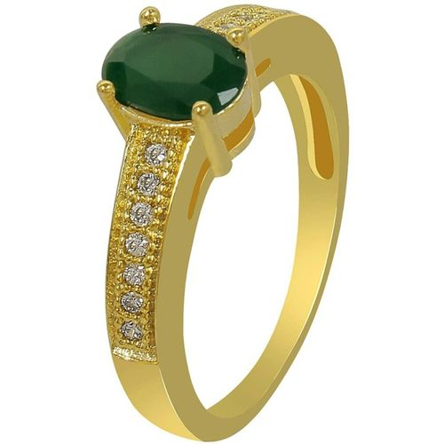 Muchmore Gold Polished Work Jade Stone Added Fashion Ring for Women & Girls Jewelry Alloy Gold-plated Plated Ring
