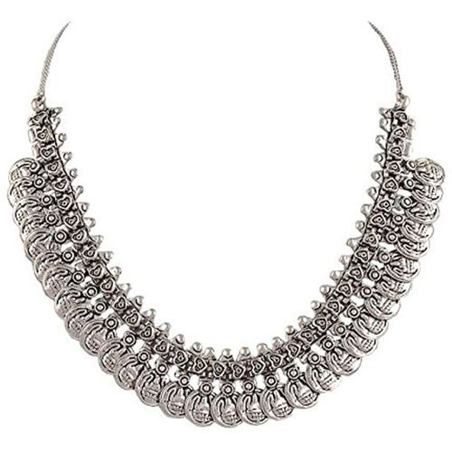 Sansar India Oxidized Silver Plated Coins Silver Plated Alloy Necklace