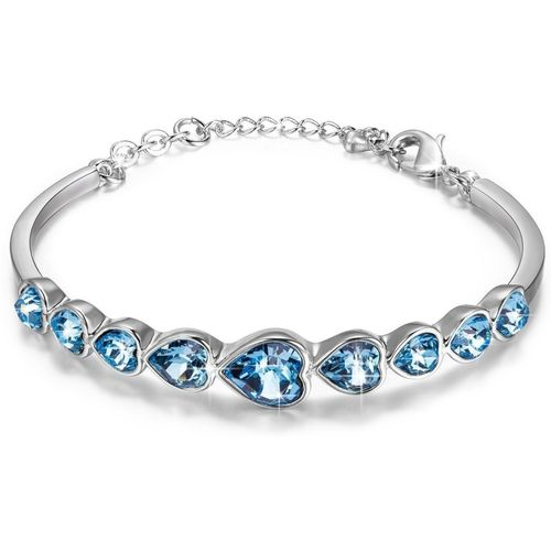 Yellow Chimes Metal Swarovski Crystal Rhodium Bracelet