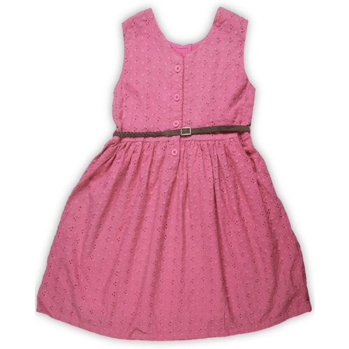 612 League Girls Midi/Knee Length Casual Dress(Pink, Sleeveless)