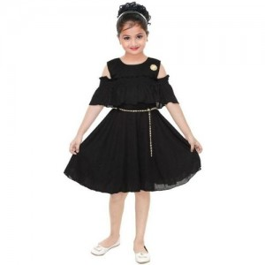 Digimart Girls Midi/Knee Length Black Party Dress