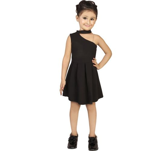 Addyvero Girls Midi/Knee Length Party Dress(Black, Sleeveless)