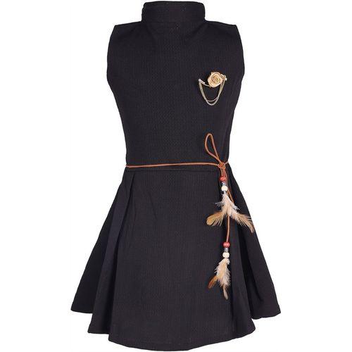 FabTag - Tiny Toon Girls Midi/Knee Length Casual Dress(Black, Sleeveless)