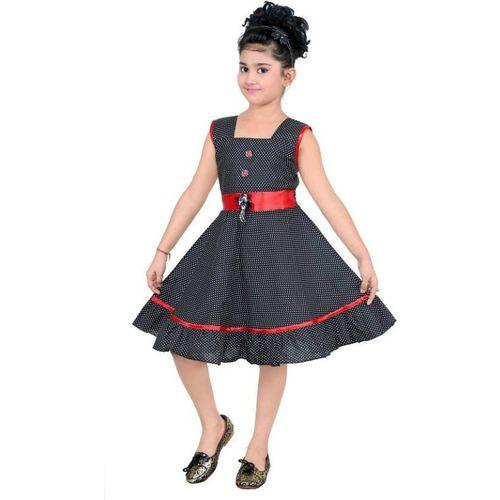 Singham Girls Midi/Knee Length Party Dress(Black, Sleeveless)