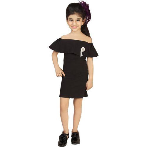 Addyvero Girls Midi/Knee Length Party Dress(Black, Sleeveless)