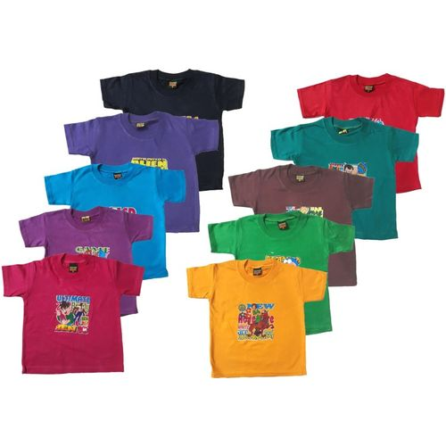 Manzon Boy's & Girl's Graphic Print Hoisery T Shirt(Multicolor, Pack of 10)