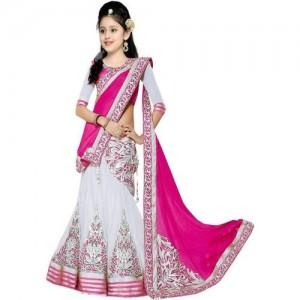 MF Retail Pink Lehenga Choli Ethnic Wear Embroidered Lehenga, Choli and Dupatta Set(Pink, Pack of 1)