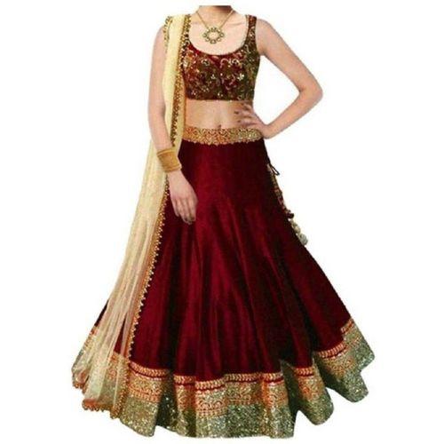 MF Retail Girl's Lehenga Choli Ethnic Wear Embroidered Lehenga, Choli and Dupatta Set(Maroon, Pack of 1)
