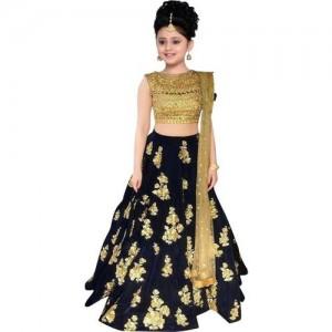 MF Retail Black Georgette Ethnic Wear Embroidered Lehenga