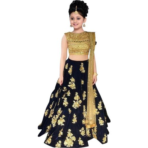 MF Retail Black Georgette Ethnic Wear Embroidered Lehenga