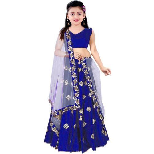 MF Retail Girl's Lehenga Choli Ethnic Wear Embroidered Lehenga, Choli and Dupatta Set(Blue, Pack of 1)