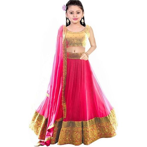 MF Retail  Pink Georgette Lace Work Lehenga