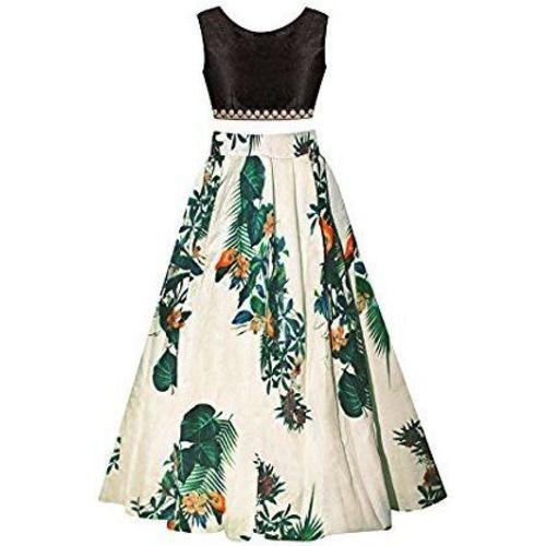 F Plus Fashion Girls Lehenga Choli Ethnic Wear Floral Print Lehenga Choli(Multicolor, Pack of 1)