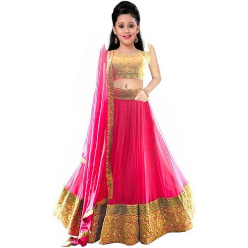 MF Retail Girl's Lehenga Choli Ethnic Wear Embroidered Lehenga, Choli and Dupatta Set(Multicolor, Pack of 1)