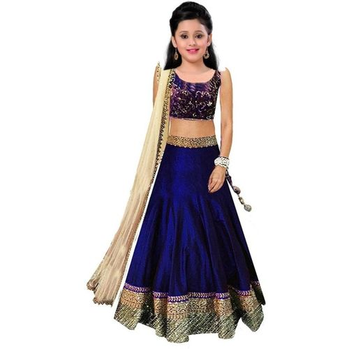 MF Retail Girl's Lehenga Choli Ethnic Wear Embroidered Lehenga, Choli and Dupatta Set(Blue, Pack of 1)