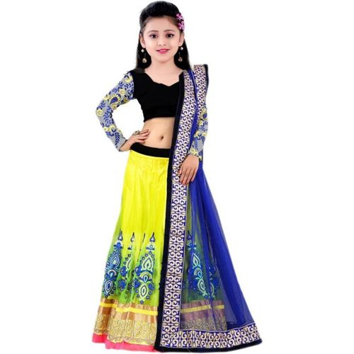 MF Retail Girl's Lehenga Choli Ethnic Wear Embroidered Lehenga, Choli and Dupatta Set(Yellow, Pack of 1)