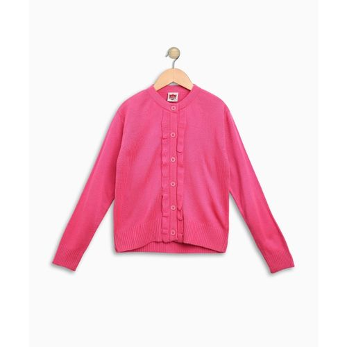 612 League Self Design Round Neck Casual Girls Pink Sweater
