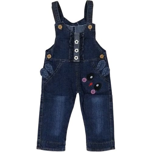 Icable Dungaree For Girls Casual Self Design Denim(Black, Pack of 1)